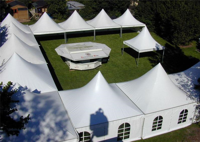 Rainproof High Peak Tent With Decorations , Air Conditioned Tent For Wedding