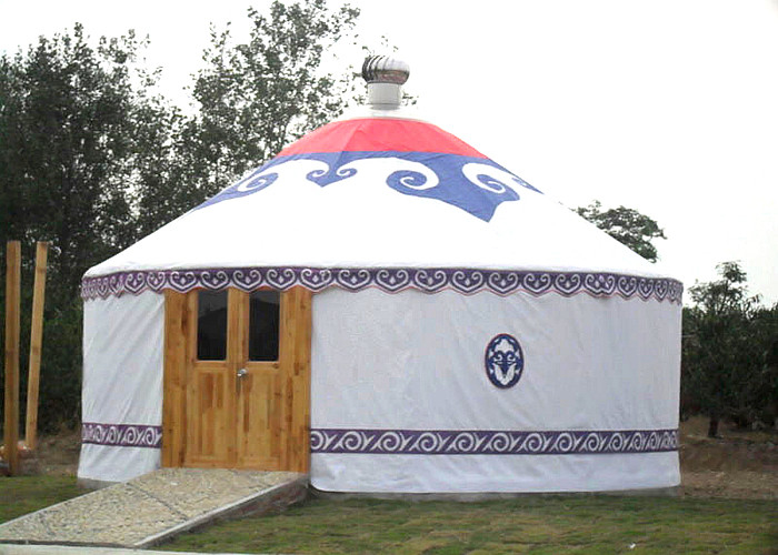 Waterproof Stay Warm Mongolian Style Camping Yurt Tent With Wooden Door